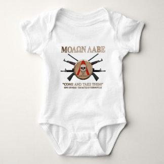 Molon Labe -スパルタ式の盾 ベビーボディスーツ