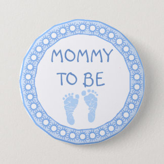 Mommy to be Blue Boy Baby Shower button 7.6cm 丸型バッジ