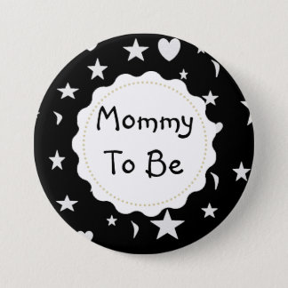 Mommy to be Stars, Moons and Heart Button 7.6cm 丸型バッジ