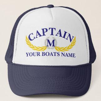 Momogrammed boat name anchor motif captains キャップ