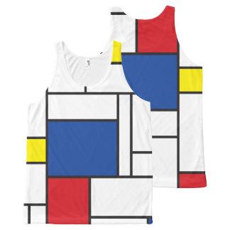 Mondrian Minimalist De Stijlの近代美術のタンクトップ オールオーバープリントタンクトップ