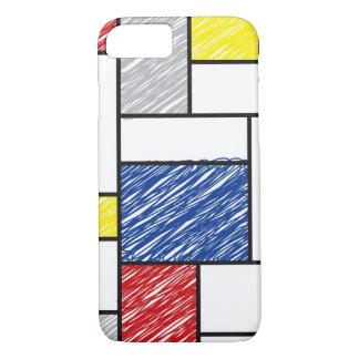 Mondrian Minimalist De Stijl ArtはiPhoneを走り書きします iPhone 8/7ケース