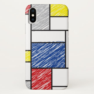 Mondrian Minimalist De Stijl ArtはiPhoneを走り書きします iPhone X ケース