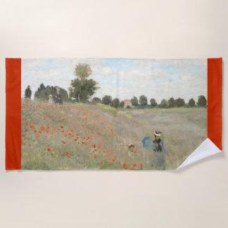 Monetのケシ分野の印象主義のビーチタオル ビーチタオル
