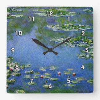 Monetのスイレンのファインアート(1906年) スクエア壁時計