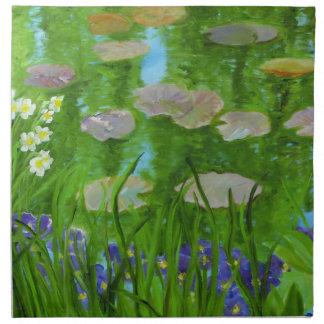Monetの庭の布のナプキン ナプキンクロス