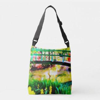 Monetの日本のな庭の水彩画のCrossbodyのバッグ クロスボディバッグ