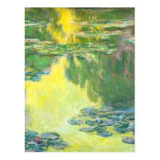 Monetの日没の《植物》スイレンの郵便はがき ポストカード