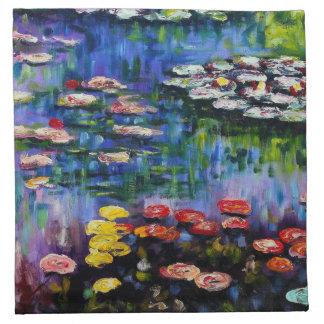Monetの紫色のスイレンのナプキン ナプキンクロス