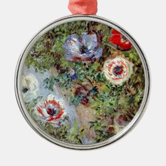 Monetの静物画のアネモネの花の絵画 メタルオーナメント