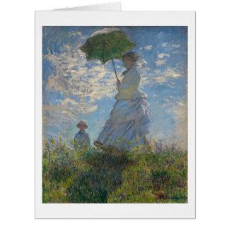 Monet著パラソルを持つ女性 カード