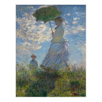 Monet著パラソルを持つ女性 ポストカード