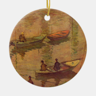 Monet著Poissyで川セーヌ河を採取している漁師 セラミックオーナメント