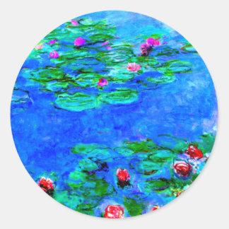 Monet: スイレンの赤のアートワーク ラウンドシール
