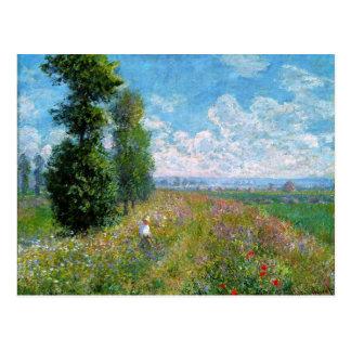 Monet -ポプラが付いている草原 ポストカード