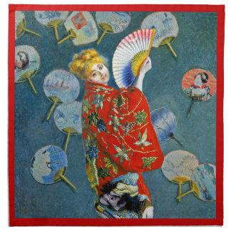 Monet - La Japonaise -フランスのな印象派の芸術 ナプキンクロス