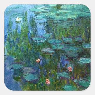 Monet Nympheasのスイレンのステッカー スクエアシール