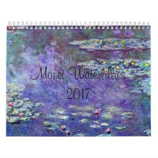 Monet WaterLilliesの2017年の芸術のカレンダー カレンダー