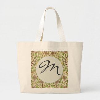 Mongramのシックな装飾者の花模様の壁紙のラッパスイセン ラージトートバッグ