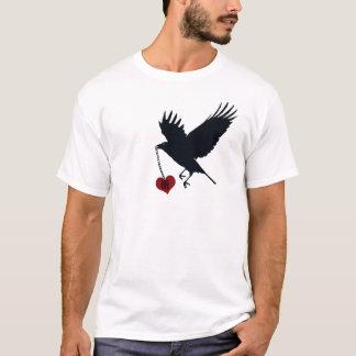 Mongramedのハートと遠くになワタリガラス飛行 Tシャツ