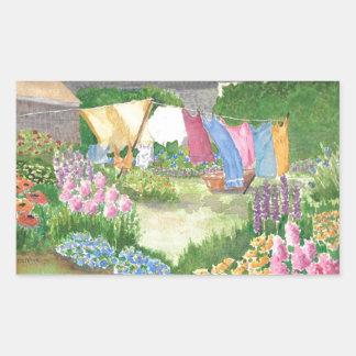 Monheganの島メインWatercoloのKathyの洗濯 長方形シール