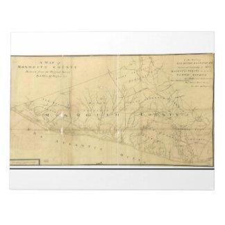 Monmouth郡ニュージャージー1781年のジョンの丘の地図 ノートパッド