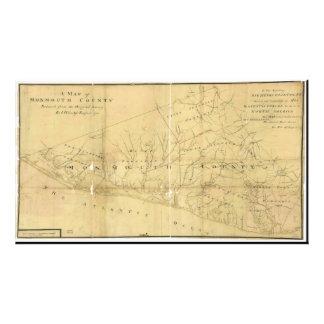 Monmouth郡ニュージャージー1781年のジョンの丘の地図 フォトプリント