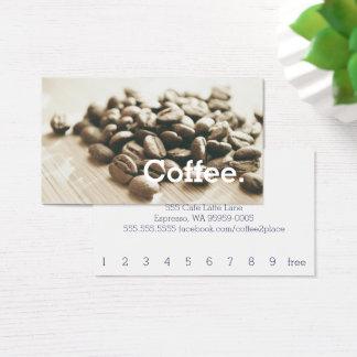 Monochrome Coffee Beans Simple Loyalty Punch-Card 名刺