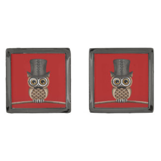 Monocleおよびシルクハットの赤のかわいいフクロウ ガンメタル カフリンク