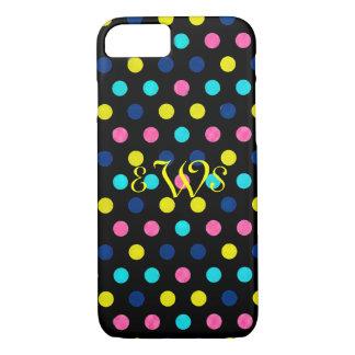 Monograのピンクのターコイズの水玉模様 iPhone 8/7ケース