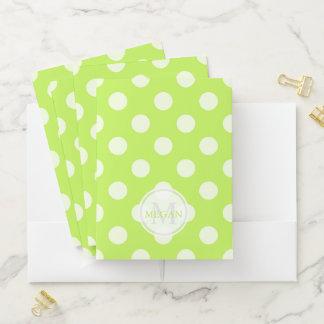Monogram Green Polka Dot Pocket Folder ポケットフォルダー