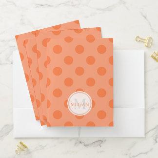 Monogram Orange Polka Dot Pocket Folder ポケットフォルダー