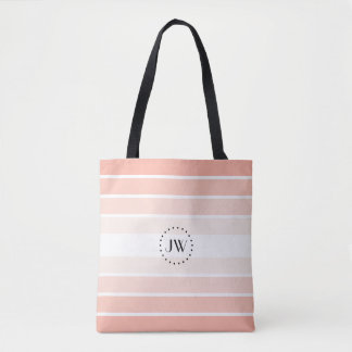 Monogram Powder Pink Coral Pastel Stripes Tote Bag トートバッグ