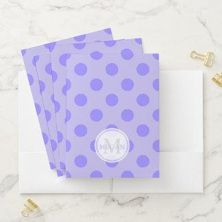 Monogram Purple Polka Dot Pocket Folder ポケットフォルダー