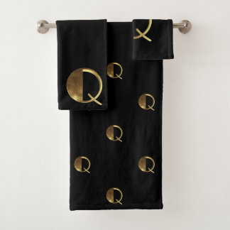 Monogram Q Black and Gold Look Elegant Typography バスタオルセット