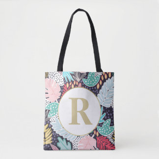 Monogram Tropical Shapes Collage Pattern Tote Bag トートバッグ