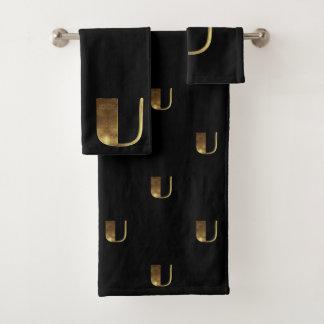 Monogram U Black and Gold Look Elegant Typography バスタオルセット