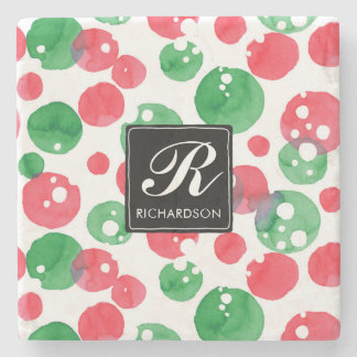 Monogram Watercolor Dots Holiday Green and Red ストーンコースター