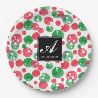 Monogram Watercolor Dots Holiday Green and Red ペーパープレート