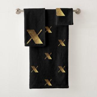 Monogram X Black and Gold Look Elegant Typography バスタオルセット
