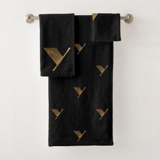 Monogram Y Black and Gold Look Elegant Typography バスタオルセット