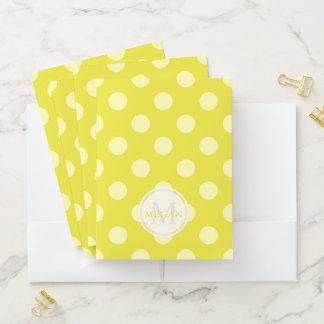 Monogram Yellow Polka Dot Pocket Folder ポケットフォルダー