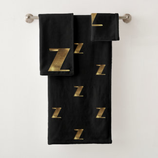 Monogram Z Black and Gold Look Elegant Typography バスタオルセット