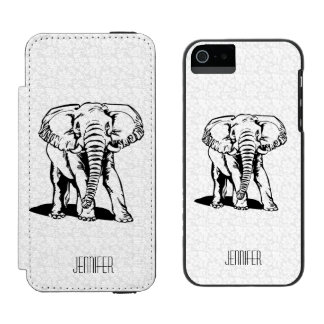 Monogramedかわいく黒い象ラインスケッチ Incipio Watson™ iPhone 5 ウォレット ケース