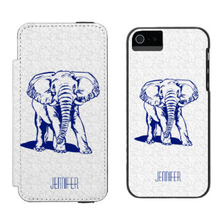 Monogramedのかわいい濃紺象ラインスケッチ Incipio Watson™ iPhone 5 財布 ケース