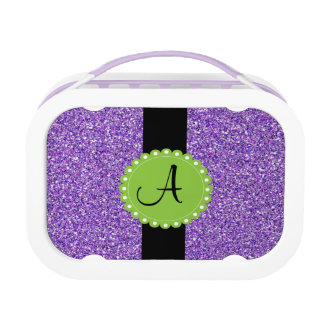 Monogramedのグリッターの紫色のお弁当箱 ランチボックス