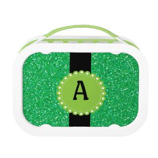 Monogramedのグリッターの緑のお弁当箱 ランチボックス