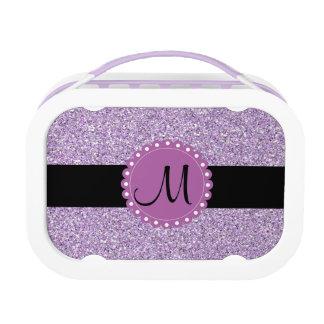 Monogramedのグリッターの薄紫のお弁当箱 ランチボックス