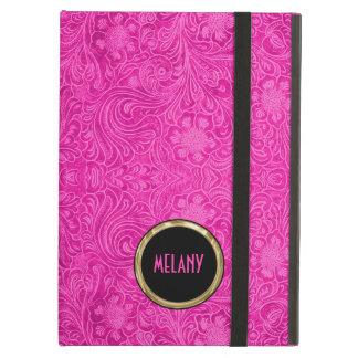 Monogramedのピンクのスエードのレザールックの花柄 iPad Airケース