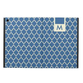 Monogramedの濃紺及びベージュ色クローバーパターン